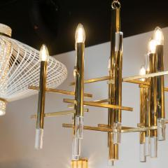 Gaetano Sciolari Mid Century Modern Rectilinear Polished Brass and Lucite Chandelier by Sciolari - 1459812