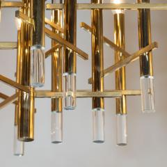 Gaetano Sciolari Mid Century Modern Rectilinear Polished Brass and Lucite Chandelier by Sciolari - 1459823