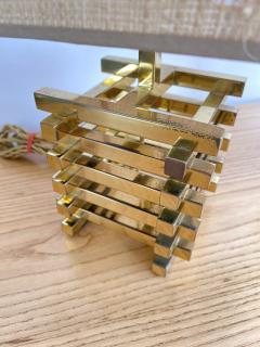 Gaetano Sciolari Pair of Brass Cage Lamps by Sciolari Italy 1970s - 1919105