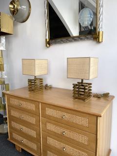 Gaetano Sciolari Pair of Brass Cage Lamps by Sciolari Italy 1970s - 1919108