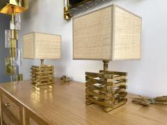 Gaetano Sciolari Pair of Brass Cage Lamps by Sciolari Italy 1970s - 1919109