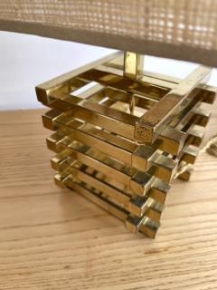 Gaetano Sciolari Pair of Brass Cage Lamps by Sciolari Italy 1970s - 1919111