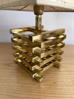 Gaetano Sciolari Pair of Brass Cage Lamps by Sciolari Italy 1970s - 1919112