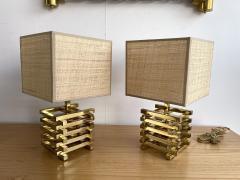 Gaetano Sciolari Pair of Brass Cage Lamps by Sciolari Italy 1970s - 1919113