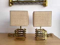 Gaetano Sciolari Pair of Brass Cage Lamps by Sciolari Italy 1970s - 1919114