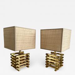 Gaetano Sciolari Pair of Brass Cage Lamps by Sciolari Italy 1970s - 1919895