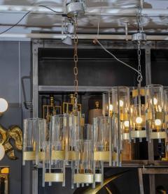 Gaetano Sciolari Pair of Chandeliers in Brass and Nickel Finishes by Gaetano Sciolari with Glass - 716249