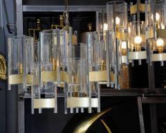 Gaetano Sciolari Pair of Chandeliers in Brass and Nickel Finishes by Gaetano Sciolari with Glass - 716250