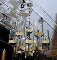 Gaetano Sciolari Pair of Chandeliers in Brass and Nickel Finishes by Gaetano Sciolari with Glass - 716254