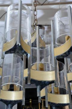 Gaetano Sciolari Pair of Chandeliers in Brass and Nickel Finishes by Gaetano Sciolari with Glass - 716256