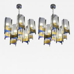 Gaetano Sciolari Pair of Chandeliers in Brass and Nickel Finishes by Gaetano Sciolari with Glass - 716591