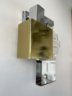 Gaetano Sciolari Pair of Metal Brass Glass Sconces by Sciolari for Stilkronen Germany 1970s - 2013825
