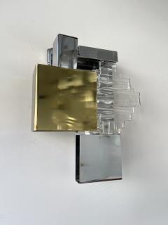 Gaetano Sciolari Pair of Metal Brass Glass Sconces by Sciolari for Stilkronen Germany 1970s - 2013826