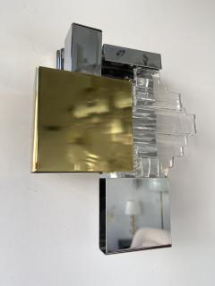 Gaetano Sciolari Pair of Metal Brass Glass Sconces by Sciolari for Stilkronen Germany 1970s - 2013827