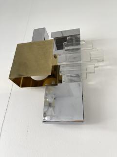 Gaetano Sciolari Pair of Metal Brass Glass Sconces by Sciolari for Stilkronen Germany 1970s - 2013829