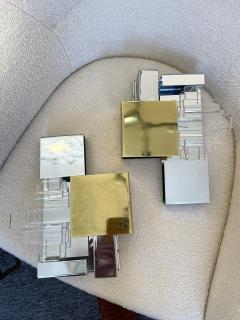 Gaetano Sciolari Pair of Metal Brass Glass Sconces by Sciolari for Stilkronen Germany 1970s - 2013835