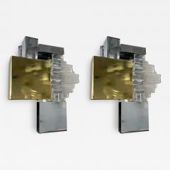 Gaetano Sciolari Pair of Metal Brass Glass Sconces by Sciolari for Stilkronen Germany 1970s - 2015822