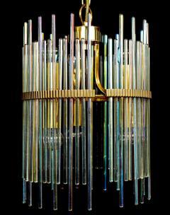 Gaetano Sciolari Rainbow Crystal Rod and Brass Chandelier or Lantern by Gaetano Sciolari 1960s - 1910354