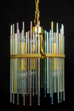 Gaetano Sciolari Rainbow Crystal Rod and Brass Chandelier or Lantern by Gaetano Sciolari 1960s - 1910360