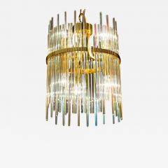 Gaetano Sciolari Rainbow Crystal Rod and Brass Chandelier or Lantern by Gaetano Sciolari 1960s - 1912142