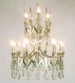 Gaetano Sciolari Rare Italian Import Gaetano Sciolari Silver and Crystal Nine Light Chandelier - 134503