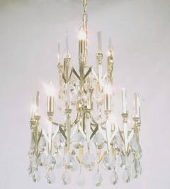 Gaetano Sciolari Rare Italian Import Gaetano Sciolari Silver and Crystal Nine Light Chandelier - 134507