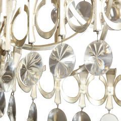 Gaetano Sciolari Sciolari Chandelier in Antiqued Nickel with Crystals 1950s - 2131277