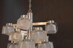 Gaetano Sciolari Sciolari Chrome and Frosted Glass Chandelier - 336858