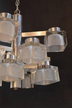 Gaetano Sciolari Sciolari Chrome and Frosted Glass Chandelier - 336862