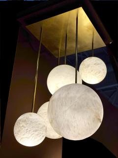 Galaxy Contemporary Italian Alabaster Marble Globe Chandelier - 1636823