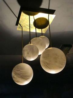Galaxy Contemporary Italian Alabaster Marble Globe Chandelier - 1636841