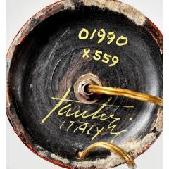 Gambone Fantoni Signed Fantoni 1950s Early 1960s Handmade Pottery Italian Red Orange Lamp - 431786
