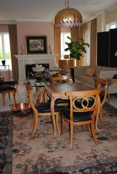 Game Table and set of Four Italian Klismos Chairs - 965281