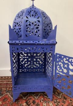Garden Floor Lantern or Candleholder in Blue a Pair - 1597527