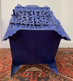 Garden Floor Lantern or Candleholder in Blue a Pair - 1597531