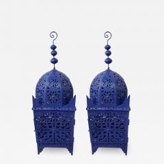 Garden Floor Lantern or Candleholder in Blue a Pair - 1611757