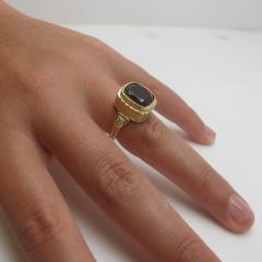Garnet and Diamond Ring 18 Karat Yellow Gold - 1099590