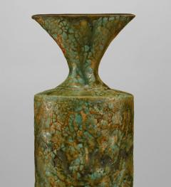 Gary DiPasquale Glazed Green Textured Ceramic Rain Forest Tapered Oval Vase - 478751