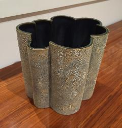 Gary DiPasquale Green Beige and Off White Large Textured Bark Vase Planter - 478861