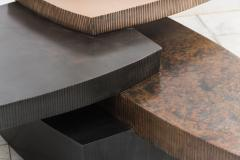 Gary Magakis Gary Magakis Bronze and Steel Stacked Low Table with Drawer USA - 2019691