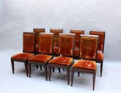Gaston Poisson SET OF 10 FRENCH ART DECO MAHOGANY CHAIRS BY GASTON POISSON 8 SIDE AND 2 ARM  - 1030833