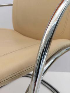 Gastone Rinaldi Italian Chrome and Leather Chairs by Gastone Rinaldi for RIMA circa 1970s - 1810292