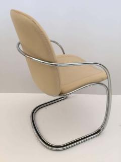 Gastone Rinaldi Italian Chrome and Leather Chairs by Gastone Rinaldi for RIMA circa 1970s - 1810299