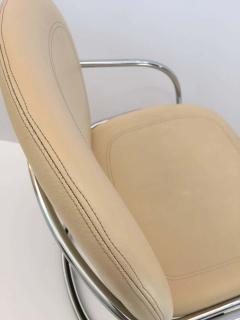 Gastone Rinaldi Italian Chrome and Leather Chairs by Gastone Rinaldi for RIMA circa 1970s - 1810301