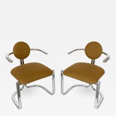Gastone Rinaldi Pair of Chrome Armchairs by Gastone Rinaldi for Thema Italy - 1096848