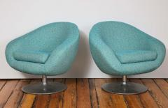Gastone Rinaldi Pair of Swivel Lounge Chairs by Gastone Rinaldi in Turquoise Tweed 1970 Italy - 1603927