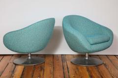 Gastone Rinaldi Pair of Swivel Lounge Chairs by Gastone Rinaldi in Turquoise Tweed 1970 Italy - 1603928