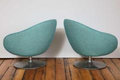 Gastone Rinaldi Pair of Swivel Lounge Chairs by Gastone Rinaldi in Turquoise Tweed 1970 Italy - 1603929