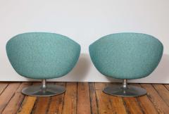 Gastone Rinaldi Pair of Swivel Lounge Chairs by Gastone Rinaldi in Turquoise Tweed 1970 Italy - 1603931