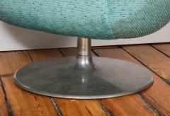 Gastone Rinaldi Pair of Swivel Lounge Chairs by Gastone Rinaldi in Turquoise Tweed 1970 Italy - 1603937